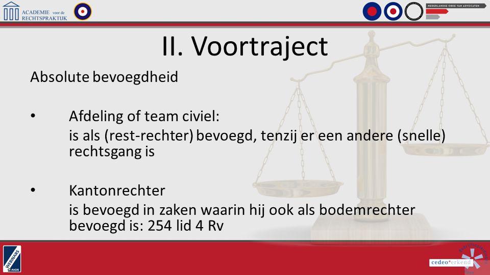 II. Voortraject Absolute bevoegdheid Afdeling of team civiel: