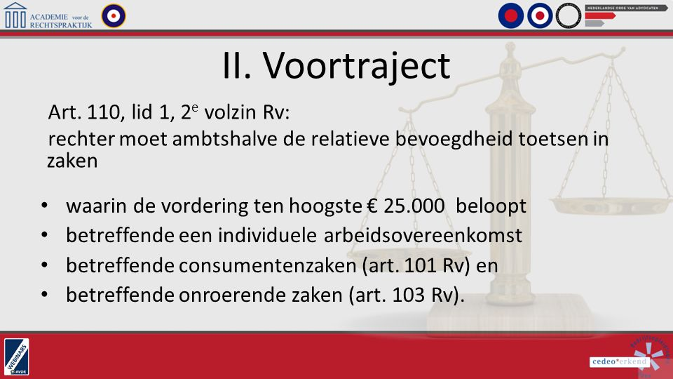 II. Voortraject Art. 110, lid 1, 2e volzin Rv: rechter moet ambtshalve de relatieve bevoegdheid toetsen in zaken