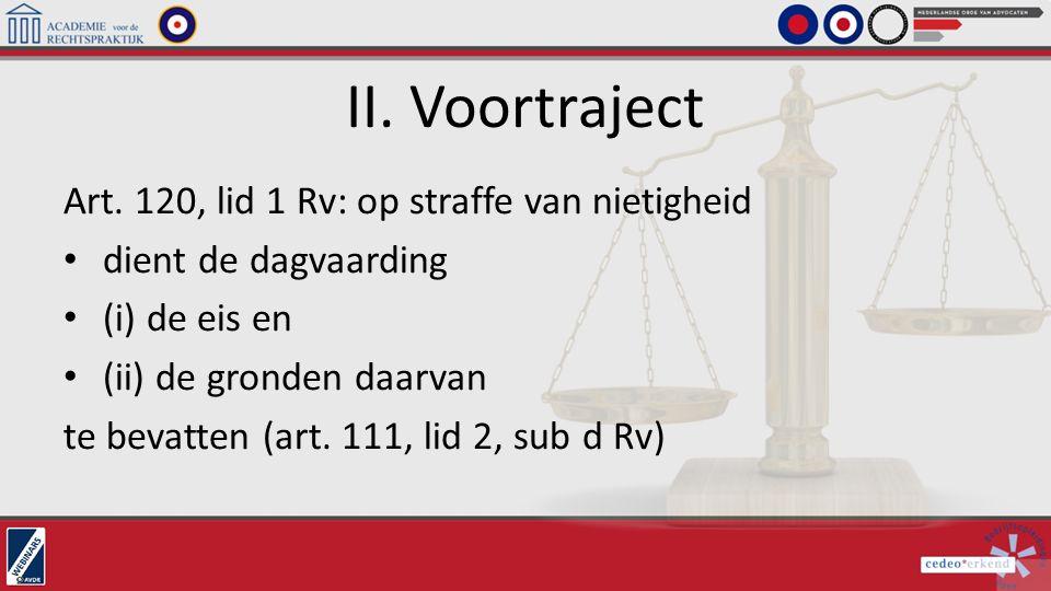 II. Voortraject Art. 120, lid 1 Rv: op straffe van nietigheid
