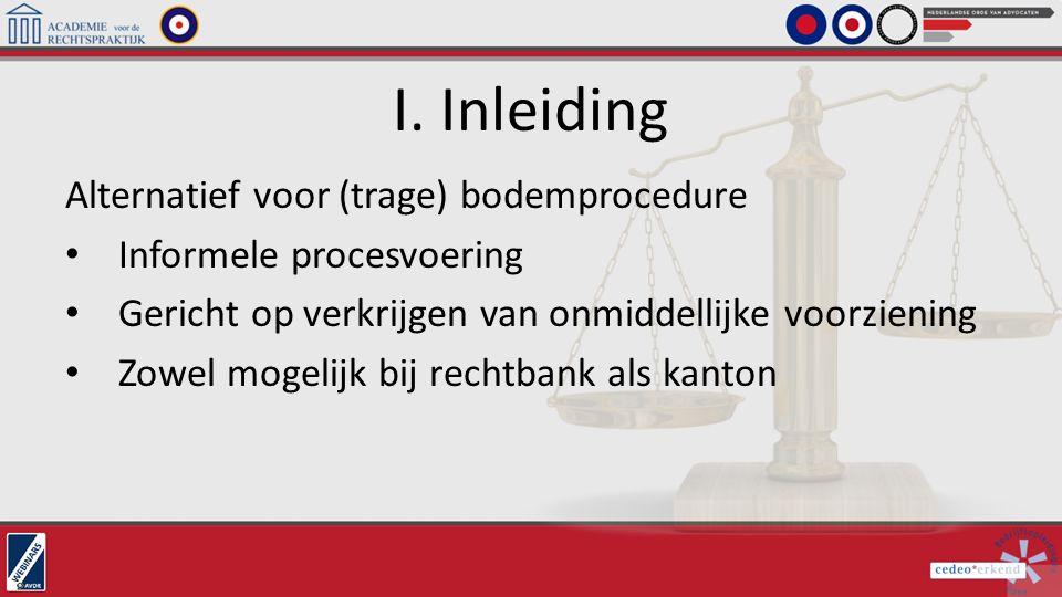 I. Inleiding Alternatief voor (trage) bodemprocedure