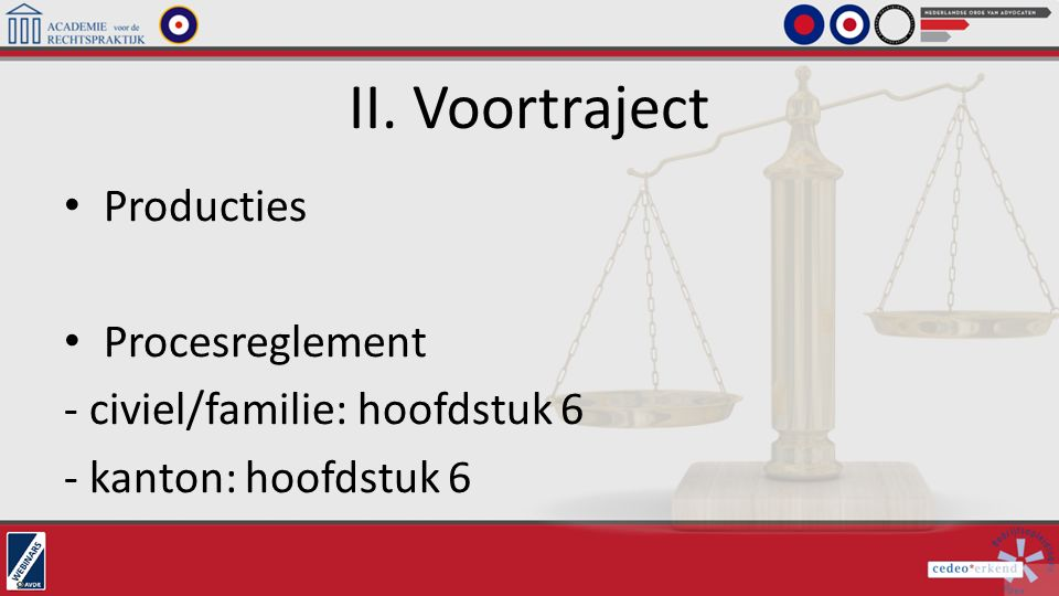 II. Voortraject Producties Procesreglement