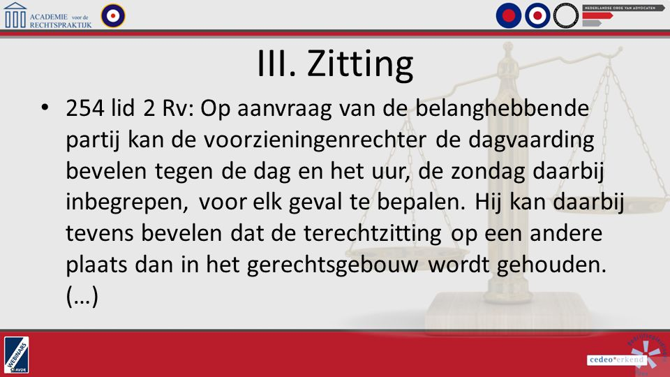 III. Zitting