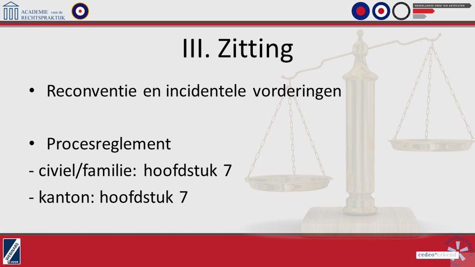 III. Zitting Reconventie en incidentele vorderingen Procesreglement