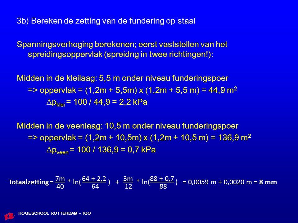 3b) Bereken de zetting van de fundering op staal