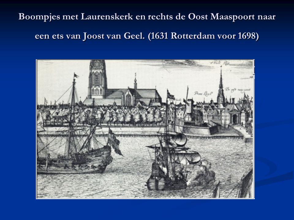 Boompjes met Laurenskerk en rechts de Oost Maaspoort naar een ets van Joost van Geel.