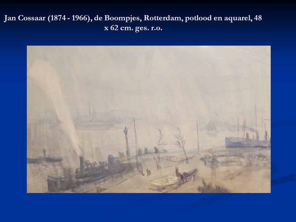 Jan Cossaar (1874 - 1966), de Boompjes, Rotterdam, potlood en aquarel, 48 x 62 cm. ges. r.o.