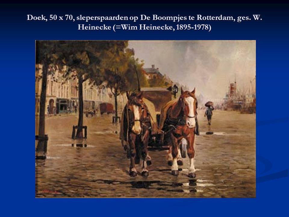 Doek, 50 x 70, sleperspaarden op De Boompjes te Rotterdam, ges. W