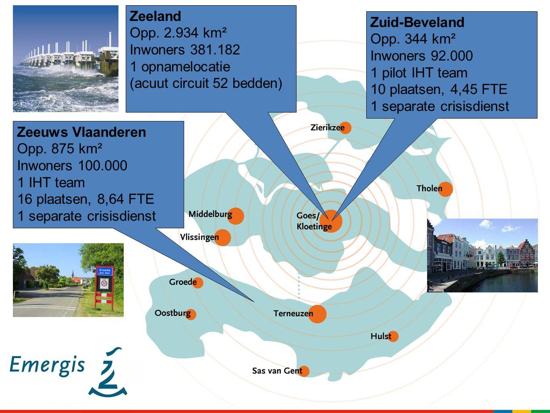 Zeeland Opp. 2.934 km². Inwoners 381.182. 1 opnamelocatie. (acuut circuit 52 bedden) Zuid-Beveland.
