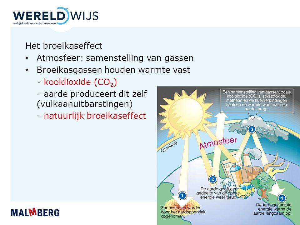 Het broeikaseffect Atmosfeer: samenstelling van gassen. Broeikasgassen houden warmte vast. - kooldioxide (CO2)