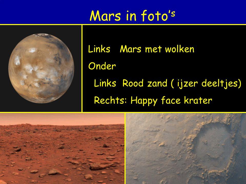 Mars in foto's Links Mars met wolken Onder