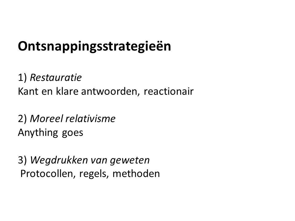 Ontsnappingsstrategieën 1) Restauratie Kant en klare antwoorden, reactionair 2) Moreel relativisme Anything goes 3) Wegdrukken van geweten Protocollen, regels, methoden