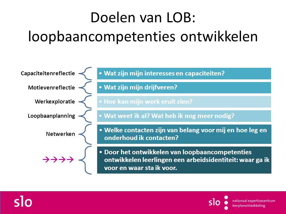 Doelen van LOB: loopbaancompetenties ontwikkelen