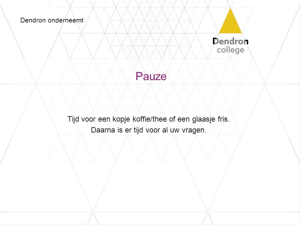 Dendron onderneemt Pauze. Tijd voor een kopje koffie/thee of een glaasje fris.