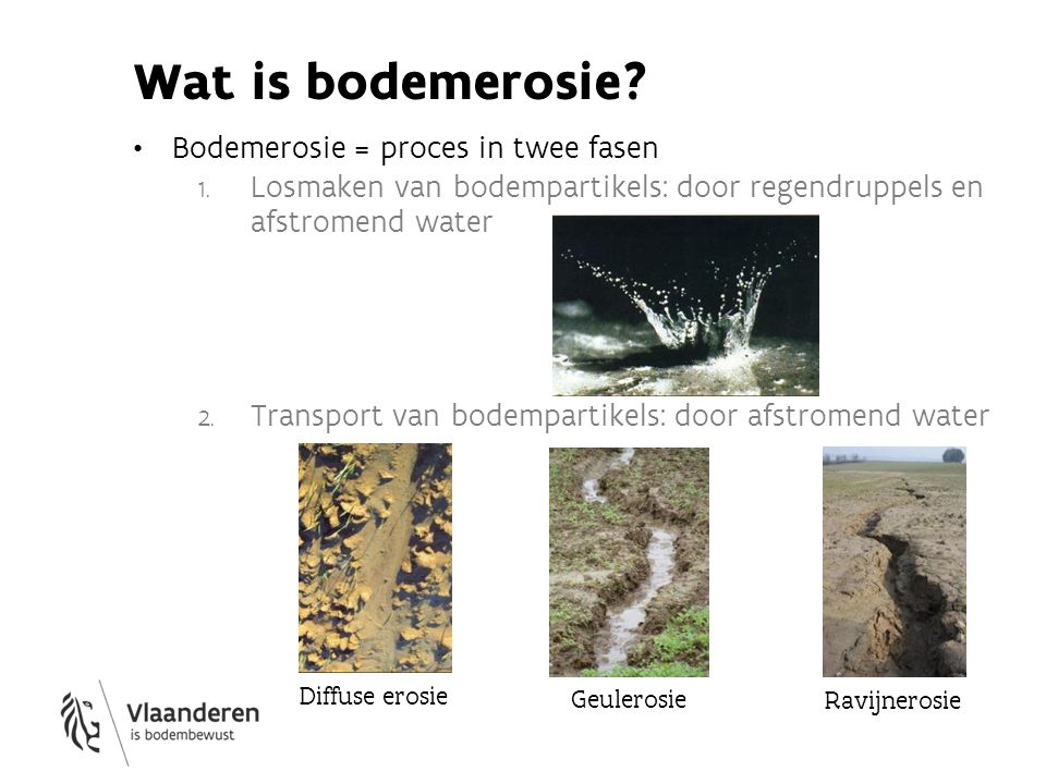 Wat is bodemerosie Bodemerosie = proces in twee fasen