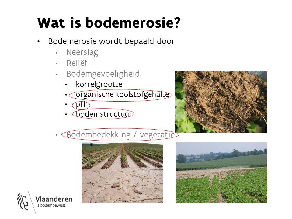 Wat is bodemerosie Bodemerosie wordt bepaald door Neerslag Reliëf