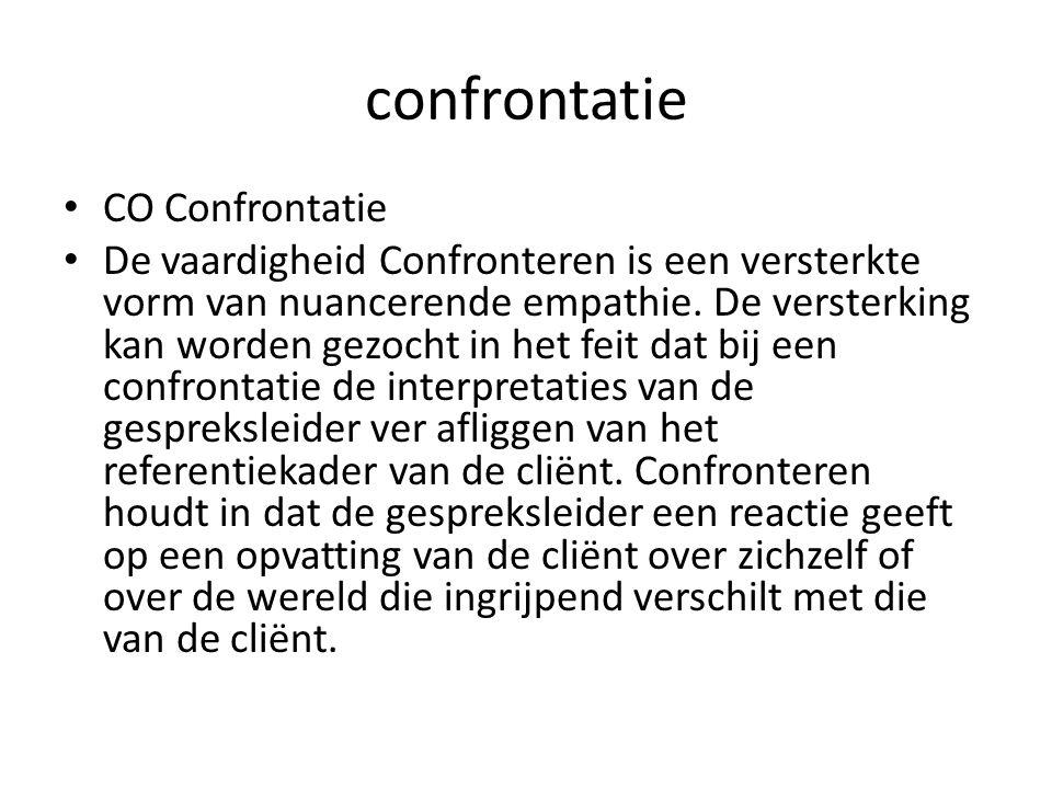 confrontatie CO Confrontatie