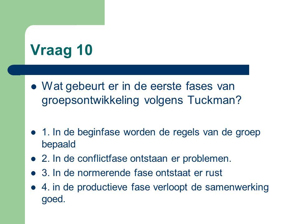 Vraag 10 Wat gebeurt er in de eerste fases van groepsontwikkeling volgens Tuckman 1. In de beginfase worden de regels van de groep bepaald.