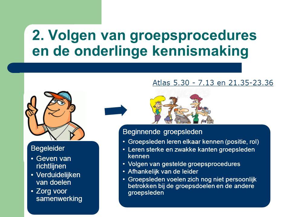 2. Volgen van groepsprocedures en de onderlinge kennismaking