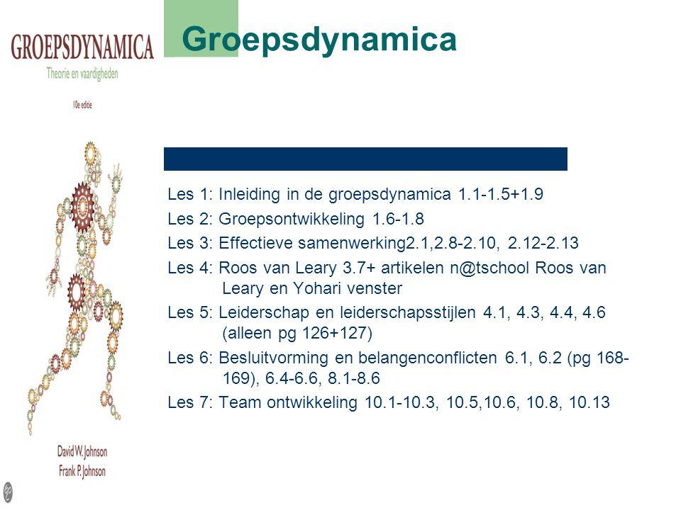Groepsdynamica Les 1: Inleiding in de groepsdynamica 1.1-1.5+1.9