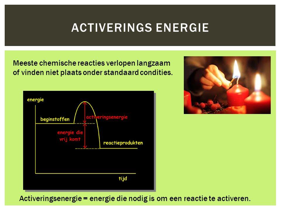 Activerings energie Meeste chemische reacties verlopen langzaam of vinden niet plaats onder standaard condities.