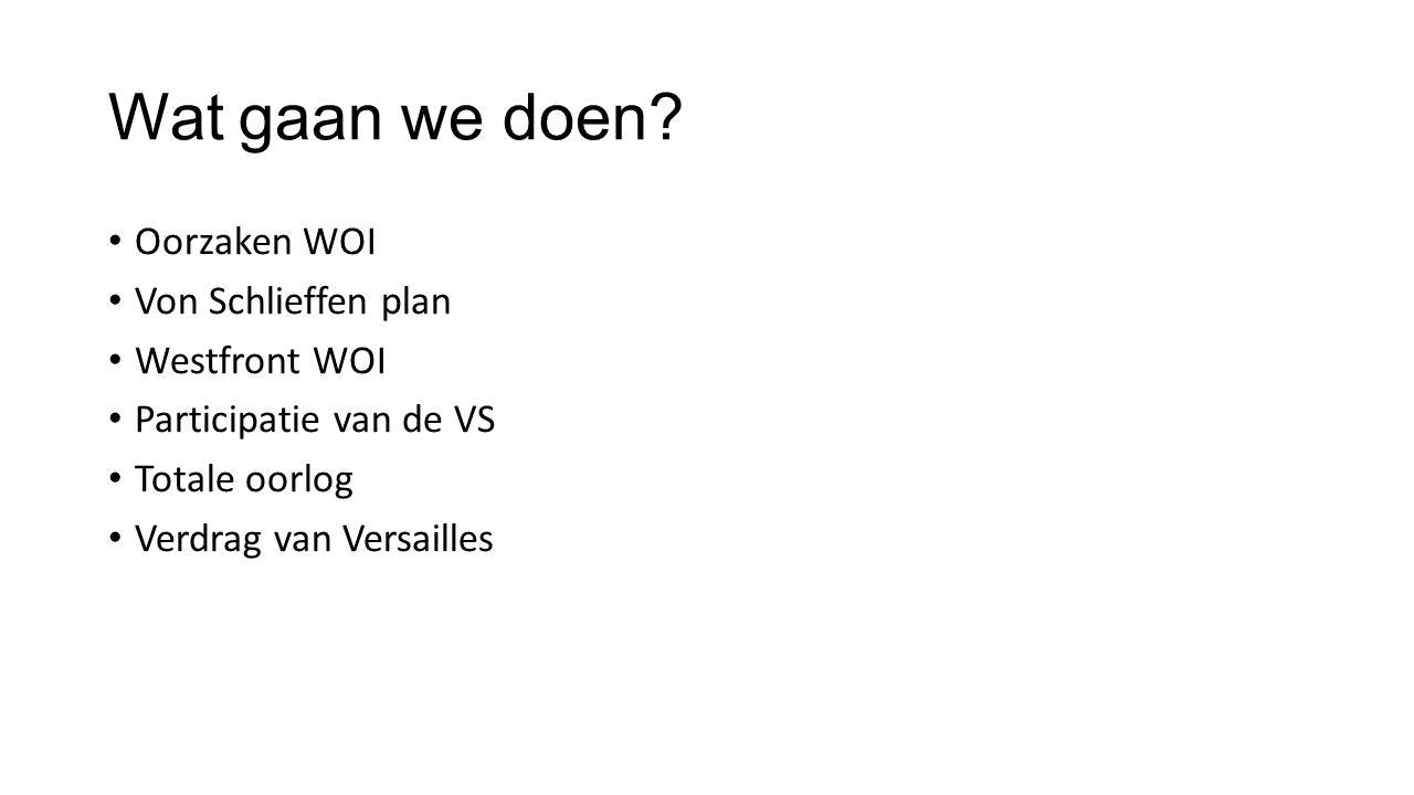 Wat gaan we doen Oorzaken WOI Von Schlieffen plan Westfront WOI