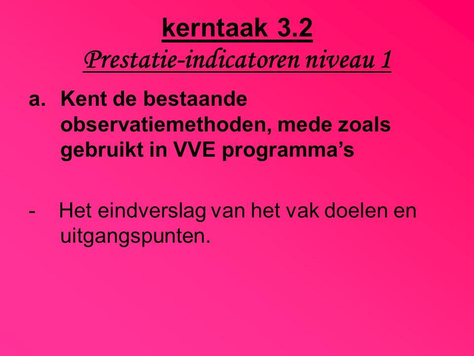 kerntaak 3.2 Prestatie-indicatoren niveau 1