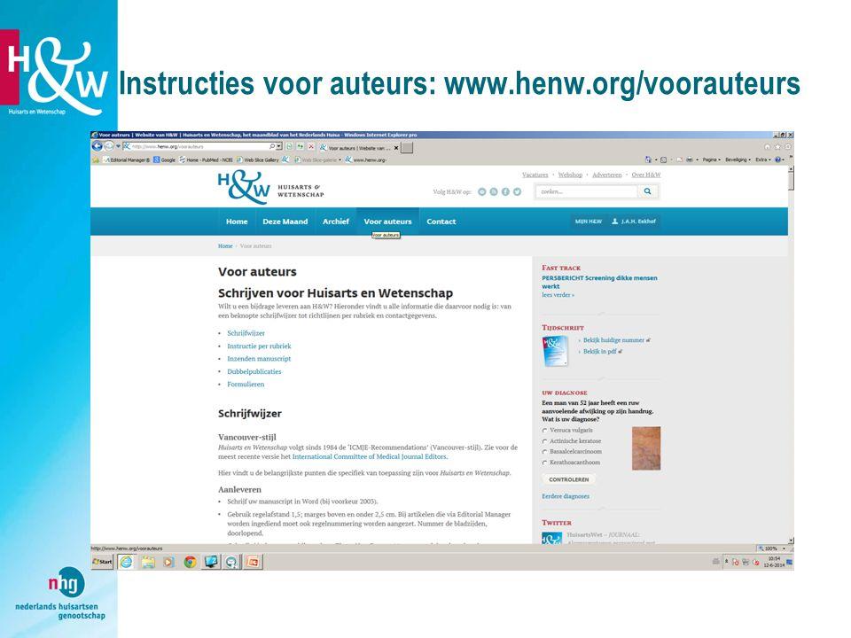 Instructies voor auteurs: www.henw.org/voorauteurs