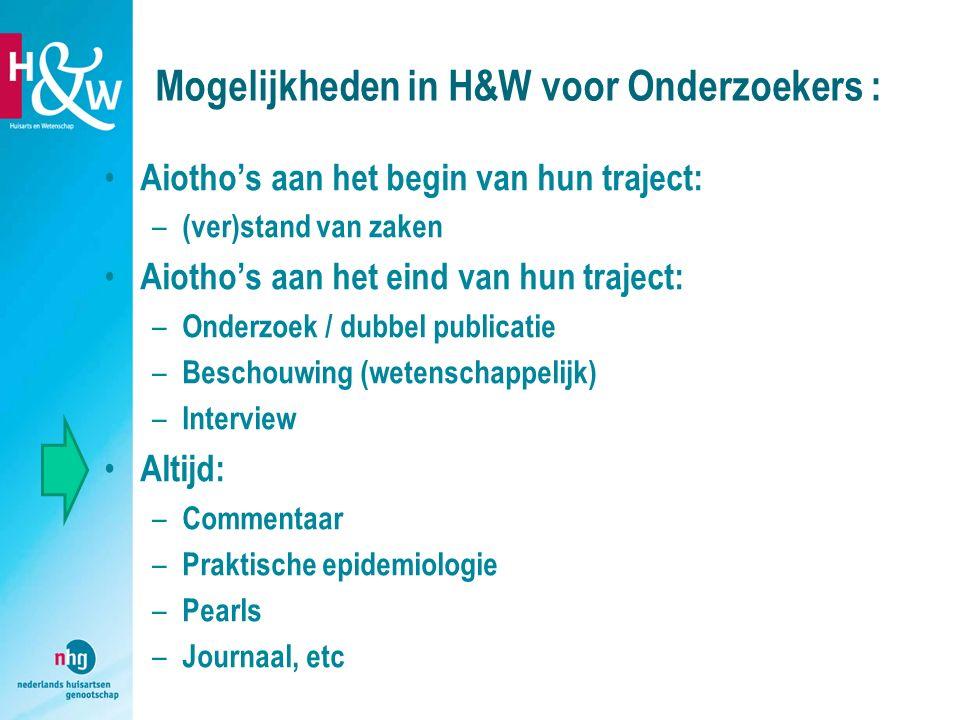 Mogelijkheden in H&W voor Onderzoekers :