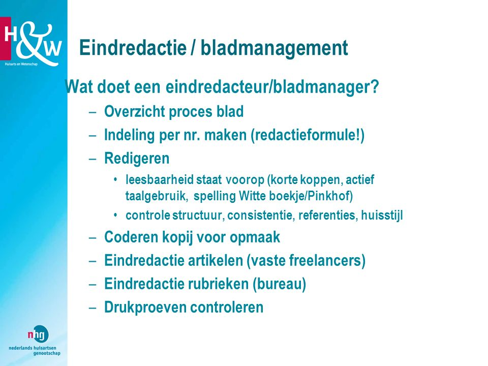 Eindredactie / bladmanagement