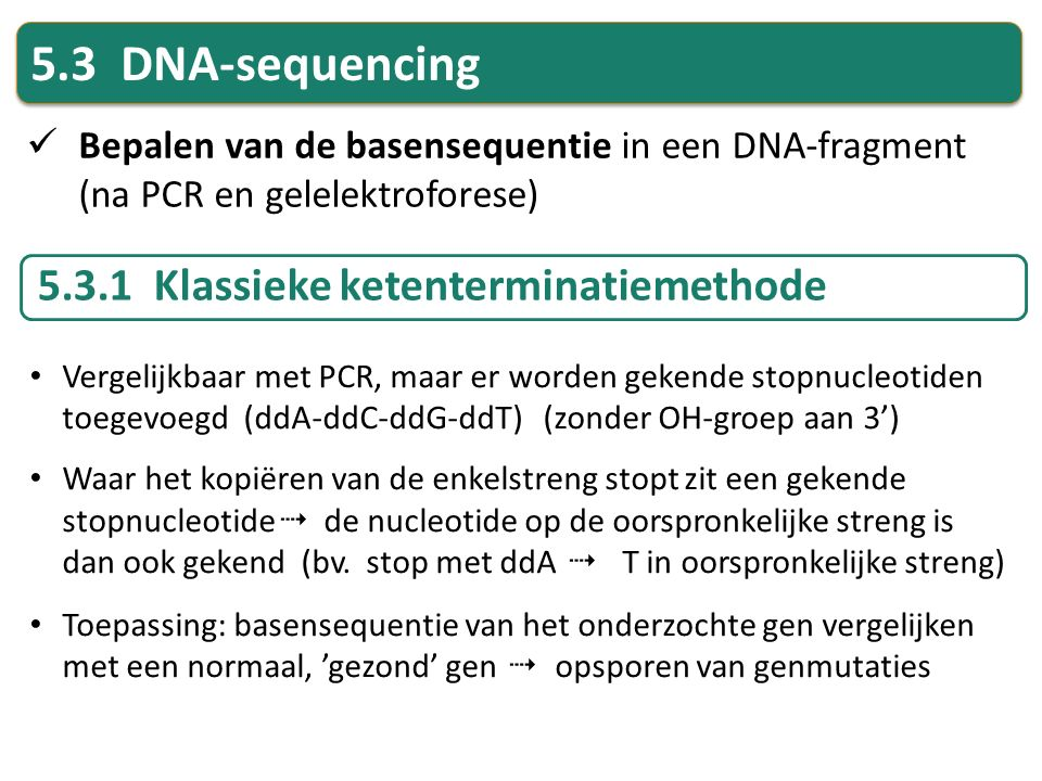 5.3 DNA-sequencing 5.3.1 Klassieke ketenterminatiemethode