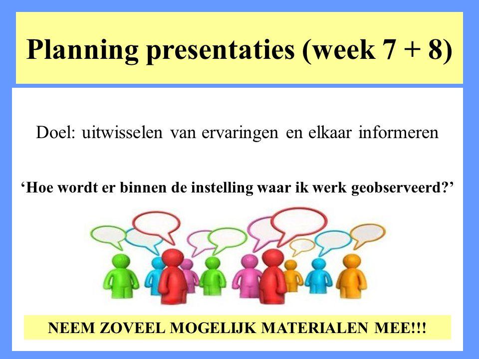 Planning presentaties (week 7 + 8)