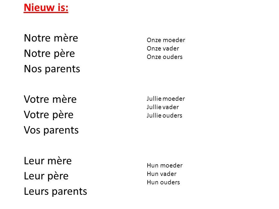 Nieuw is: Notre mère Notre père Nos parents Votre mère Votre père