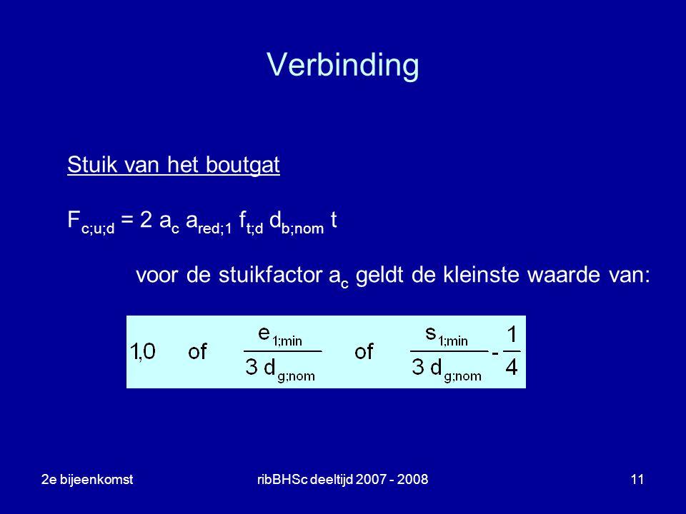 Verbinding Stuik van het boutgat Fc;u;d = 2 ac ared;1 ft;d db;nom t