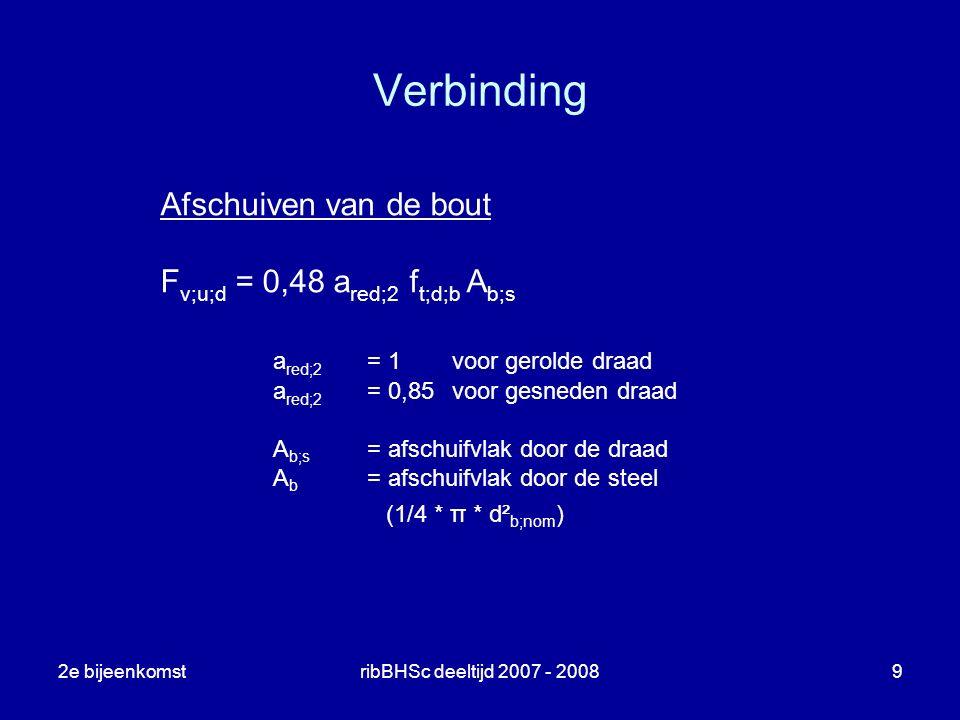 Verbinding Afschuiven van de bout Fv;u;d = 0,48 ared;2 ft;d;b Ab;s
