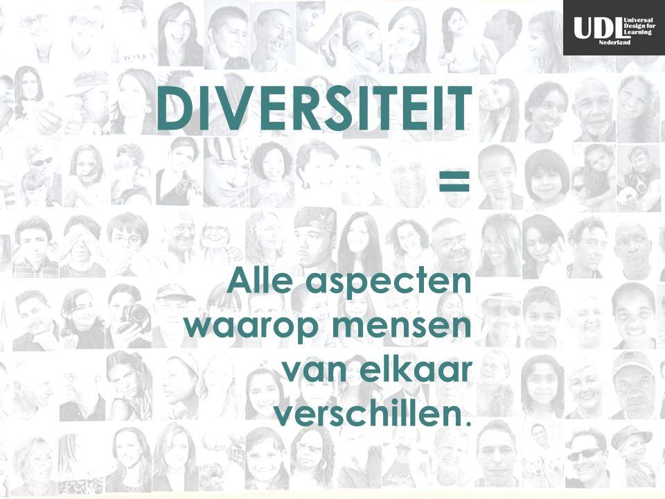 DIVERSITEIT = Alle aspecten waarop mensen van elkaar verschillen.