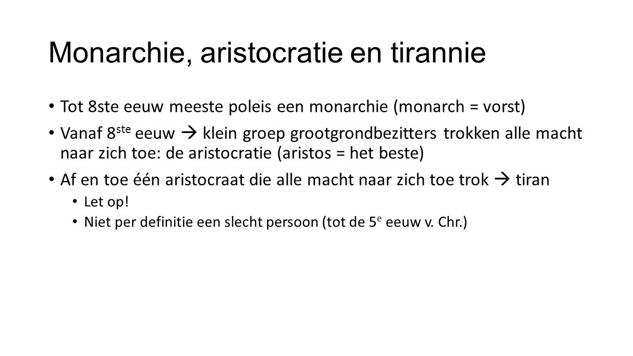 Monarchie, aristocratie en tirannie