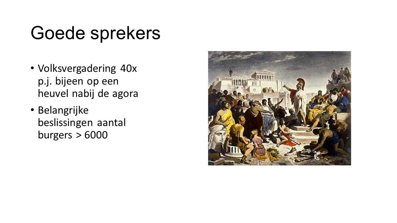 Goede sprekers Volksvergadering 40x p.j. bijeen op een heuvel nabij de agora.