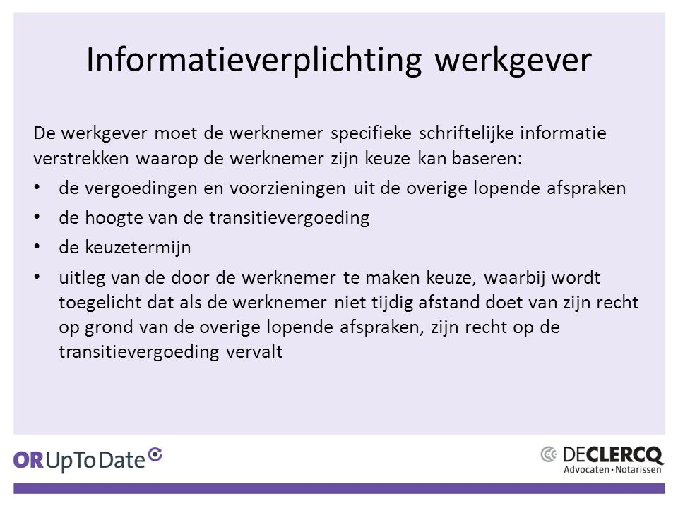 Informatieverplichting werkgever