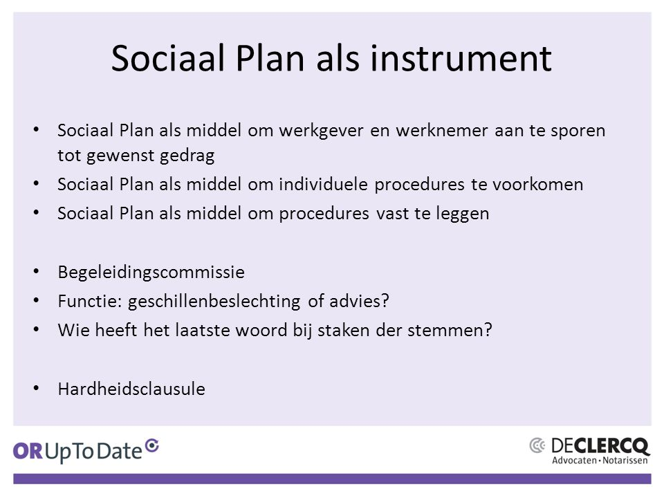 Sociaal Plan als instrument