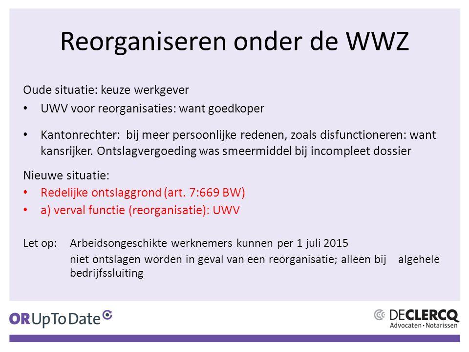 Reorganiseren onder de WWZ