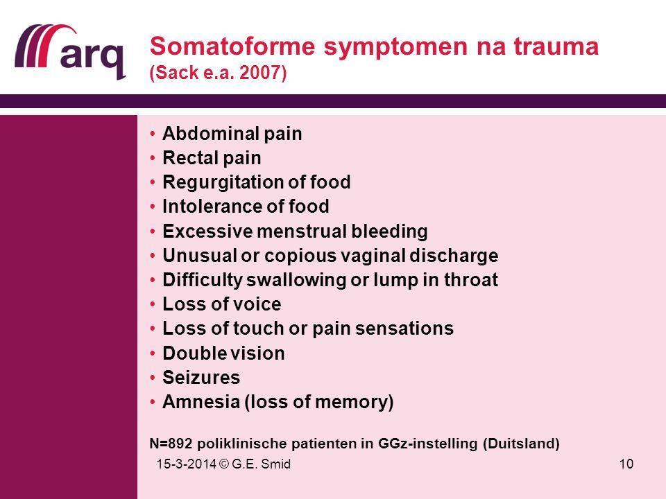 Somatoforme symptomen na trauma (Sack e.a. 2007)