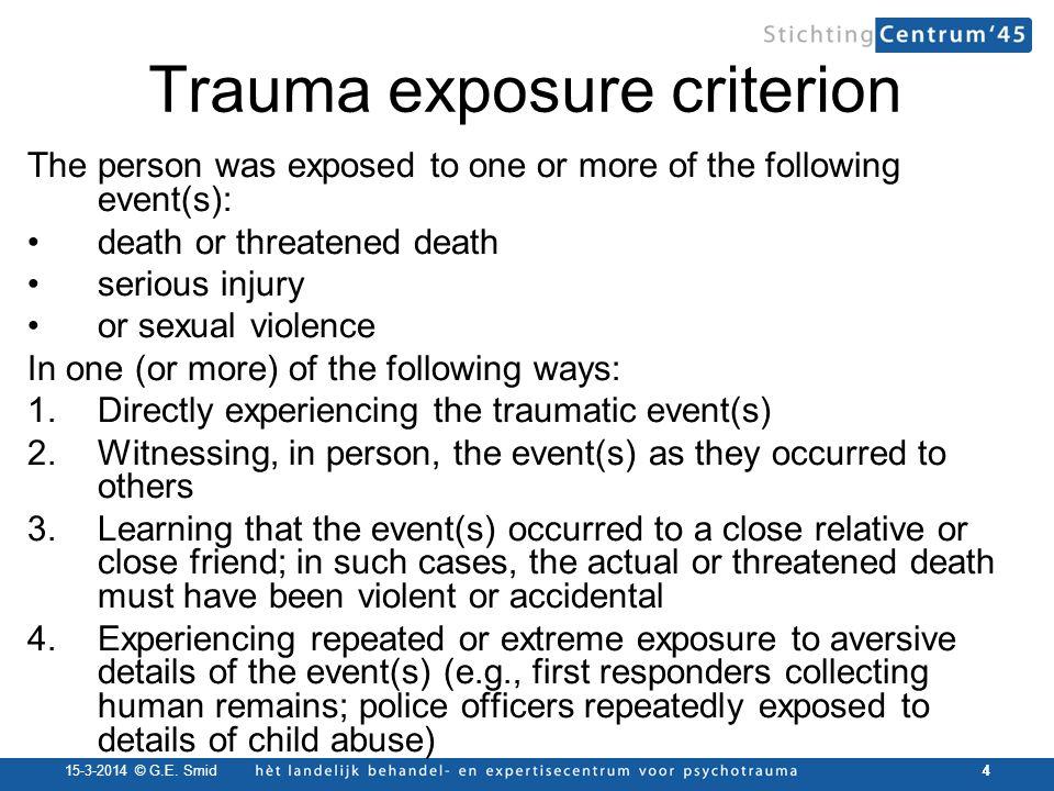 Trauma exposure criterion