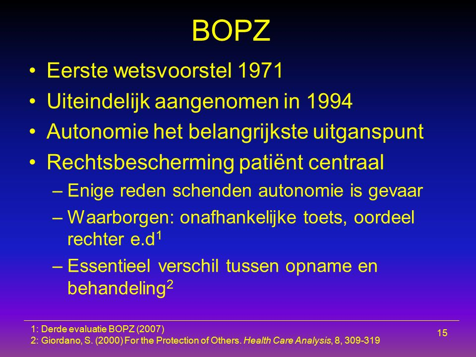 BOPZ Eerste wetsvoorstel 1971 Uiteindelijk aangenomen in 1994