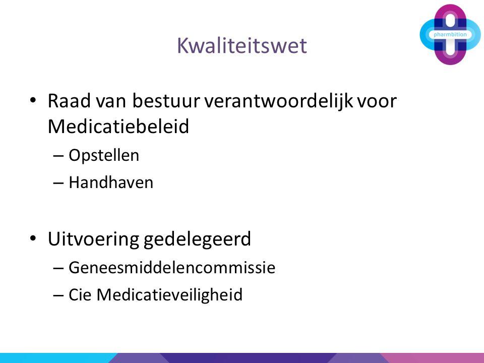 Kwaliteitswet Raad van bestuur verantwoordelijk voor Medicatiebeleid