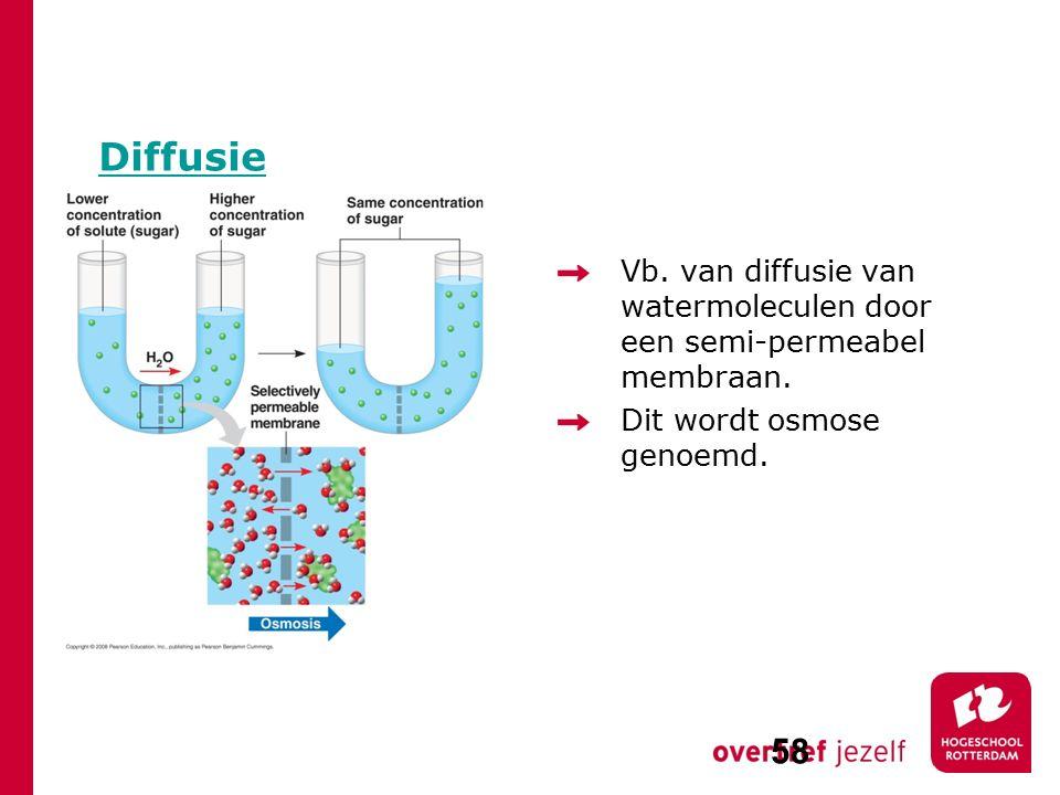 Diffusie Vb. van diffusie van watermoleculen door een semi-permeabel membraan.