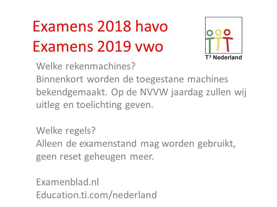 Examens 2018 havo Examens 2019 vwo Welke rekenmachines