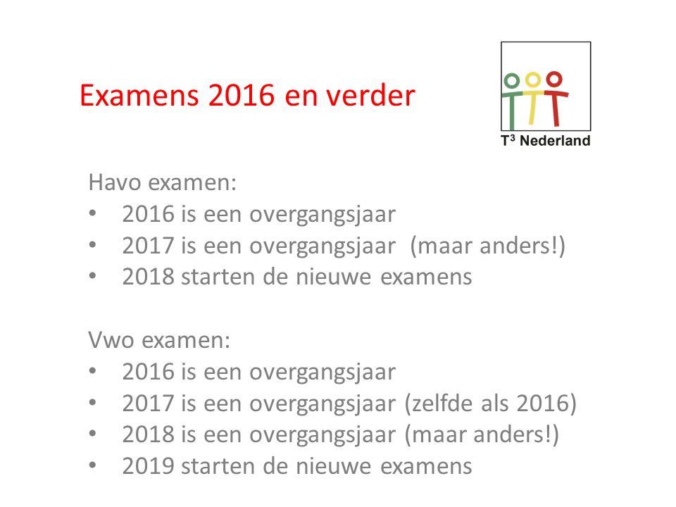 Examens 2016 en verder Havo examen: 2016 is een overgangsjaar