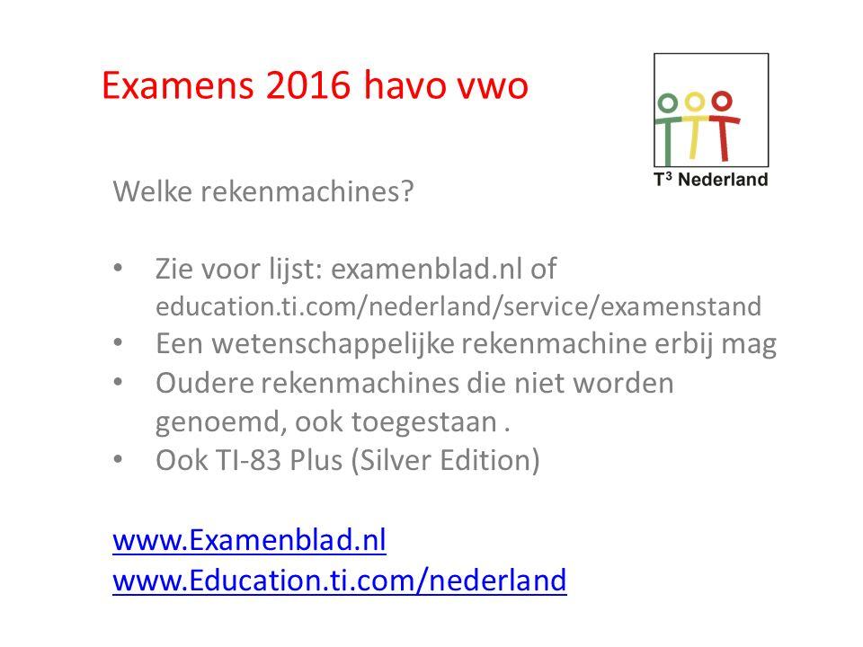 Examens 2016 havo vwo www.Examenblad.nl www.Education.ti.com/nederland