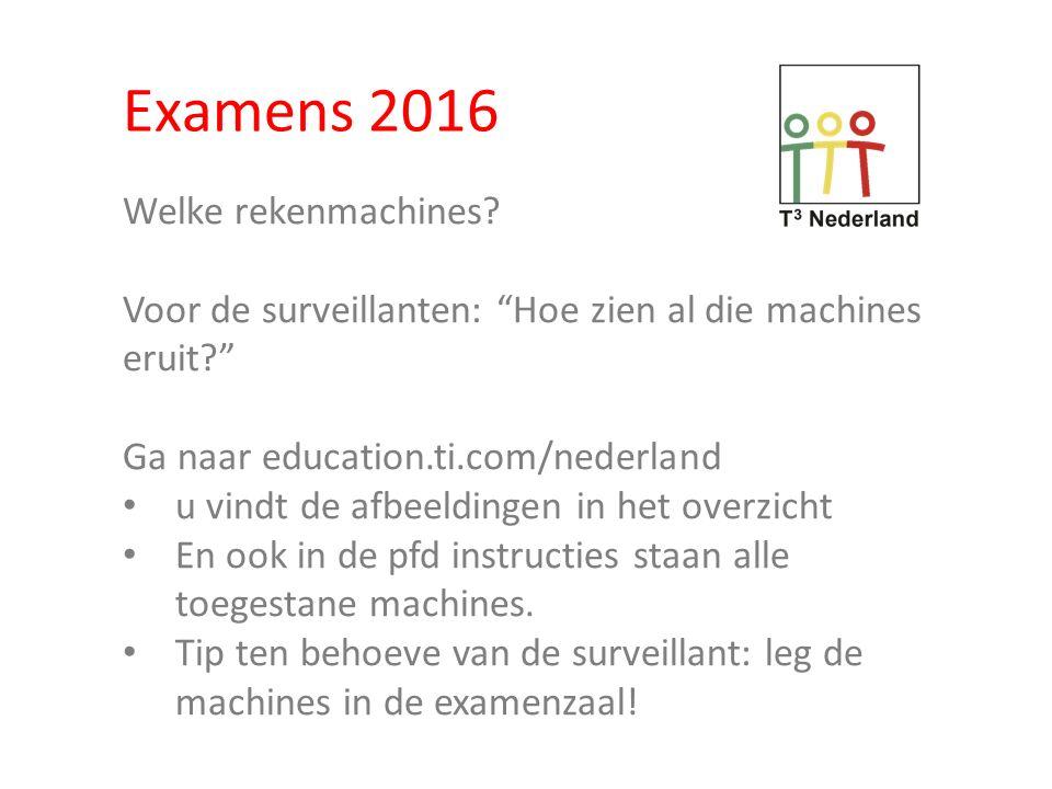 Examens 2016 Welke rekenmachines