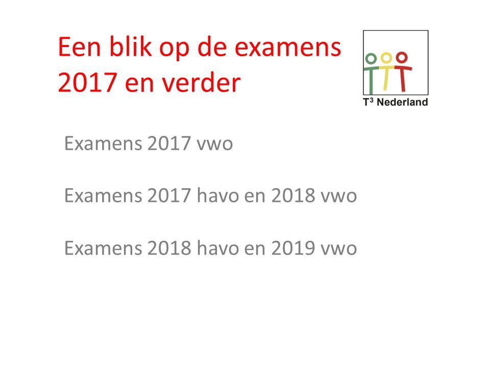 Een blik op de examens 2017 en verder Examens 2017 vwo
